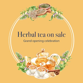 Corona dell'acquerello del tè di erbe con l'illustrazione dell'acquerello della foglia, del timo, della melissa, del limone.