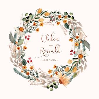 Corona dell'acquerello di bel fiore prato