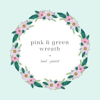 Corona di acquerello rosa e verde