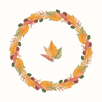 Corona di autunno con foglie di acquerello
