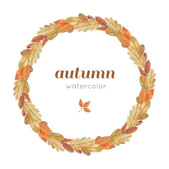 Corona di autunno dell'acquerello con foglie gialle
