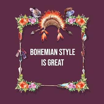 Corona di boemia design con copricapo di piume, illustrazione ad acquerello fiore,