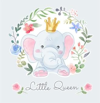 Corona di elefante carino in illustrazione di fiori colorati