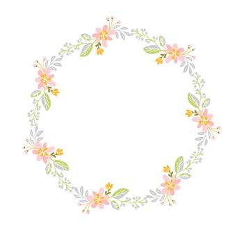 Corona di erbe di fiori di primavera. cornice da giardino piatta astratta, festa romantica giorno della donna