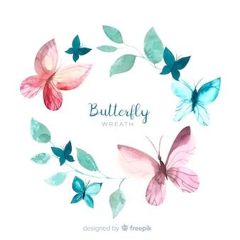Corona di farfalle ad acquerello