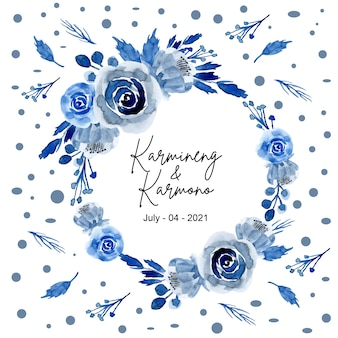 Corona di fiori blu acquerello