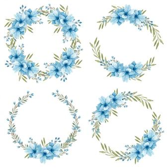 Corona di fiori di anemone blu dell'acquerello
