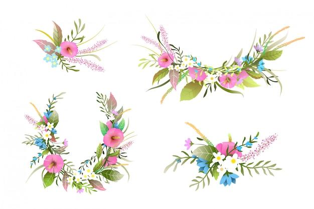 Corona di fiori rigogliosi, rosette floreali e composizioni.