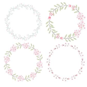 Corona di fiori rosa dell'acquerello per la raccolta di nozze o di san valentino