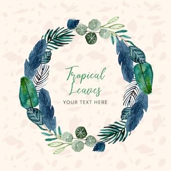 Corona di foglie di acquerello tropicale con modello di testo