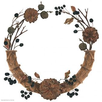 Corona di foresta invernale di natale