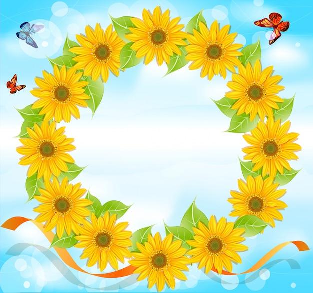 Corona di girasoli con farfalle su uno sfondo di cielo blu