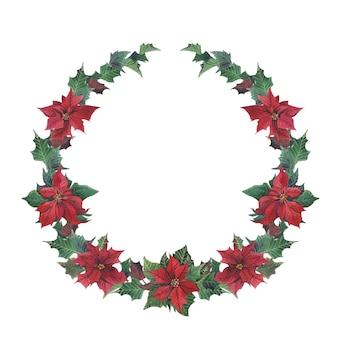 Corona di inverno dell'acquerello senza giunte con stella di natale e ramo