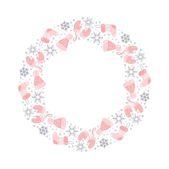 Corona di natale con elementi di natale rosa