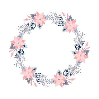 Corona di natale con fiori rosa e rami di cono con posto per il testo