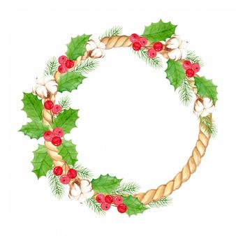 Corona di natale dell'acquerello con foglie di agrifoglio, bacche di agrifoglio, fiori di cotone e foglie di pino