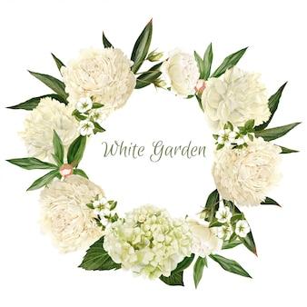 Corona di peonie bianche lussureggianti, acquerello disegnato a mano