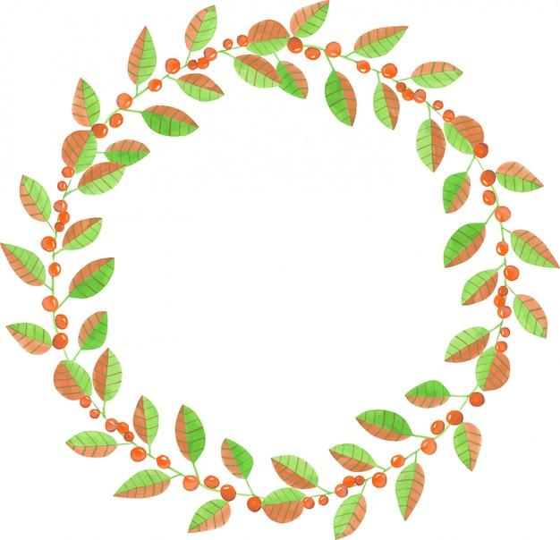 Corona di rami di bacche rosse dell'acquerello