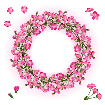 Corona di ramo di fiori di ciliegio