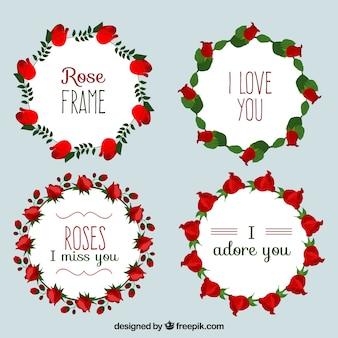 Corona di rose pacco con i bei messaggi