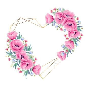 Corona di sfondo floreale con fiori di papavero ed eucalipto