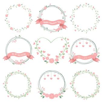Corona di valentines minimal in colori pastello