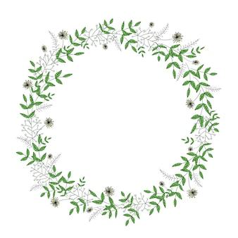 Corona di vettore con i fiori del giardino