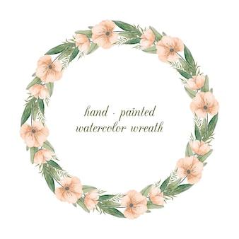 Corona dipinta a mano con fiori ad acquerelli