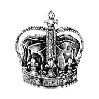 Corona disegnata a mano isolata su fondo bianco