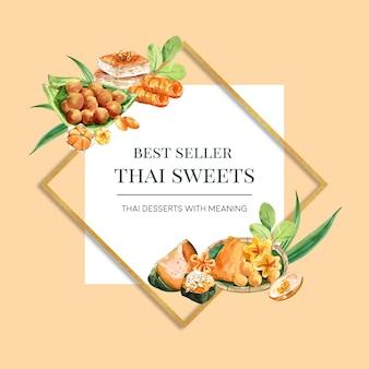 Corona dolce tailandese con crema pasticcera dell'uovo, acquerello cotto a vapore dell'illustrazione della zucca.