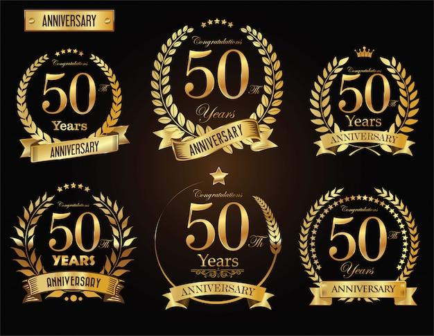 Corona dorata dell'alloro di anniversario
