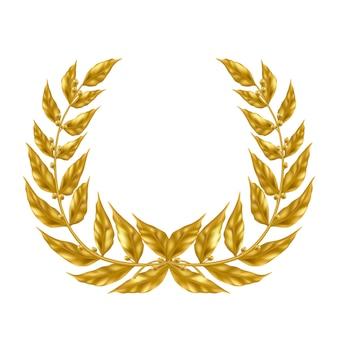 Corona dorata dell'alloro isolata su fondo bianco.