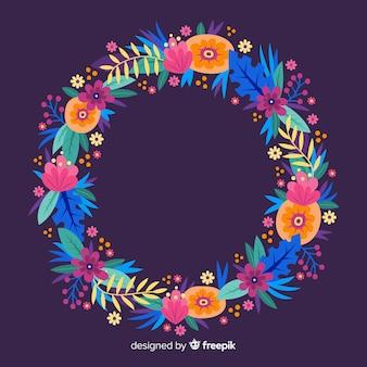 Corona floreale colorata disegnata a mano