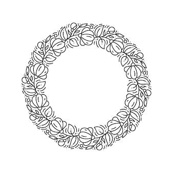 Corona floreale del fiore di logo di vettore rotondo floreale. monogramma elemento vintage