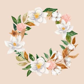 Corona floreale dell'acquerello del cotone e della magnolia