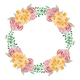 Corona floreale dell'acquerello per cornice decorativa