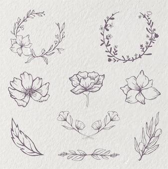 Corona floreale fiore cerchio doodle schizzo ornamento cornice di nozze