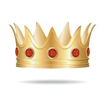 Corona in oro con gemme rosse