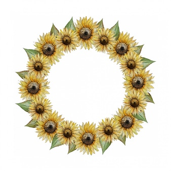 Corona rotonda dell'acquerello con girasoli gialli
