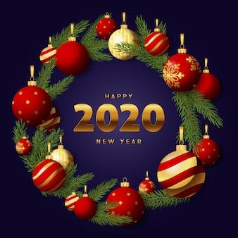 Corona verde e rossa di nuovo anno felice di natale su terra blu