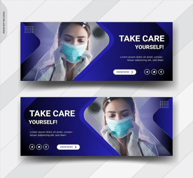 Corona virus avviso design del modello di copertina di facebook