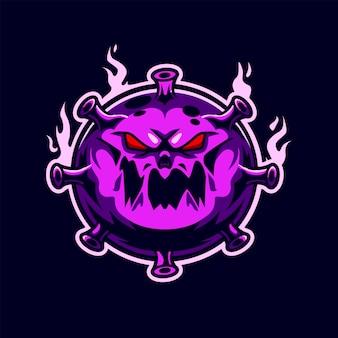 Corona virus esport gaming logo premium