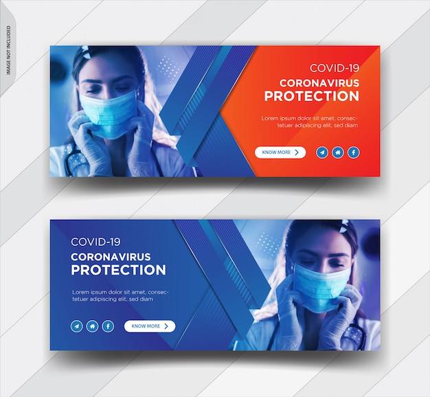 Corona virus warning design della copertina di facebook