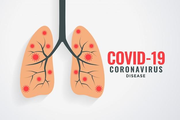 Coronavirus che infetta la progettazione del fondo dei polmoni umani