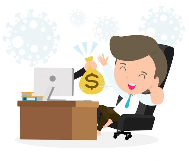 Coronavirus concetto di quarantena. uomo che lavora a casa. stare a casa, maschio seduto e lavorando sul portatile. persone con computer. prevenire la diffusione dell'infezione isolata su fondo bianco