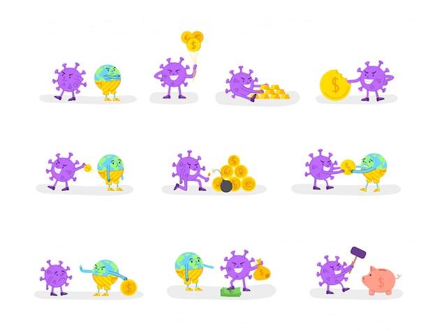 Coronavirus covid-19 concetto di crisi economica - virus malvagio e monete d'oro o denaro e triste pianeta terra, situazione finanziaria globale