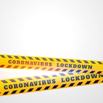 Coronavirus covid-19 lockdown design nastro giallo sullo sfondo