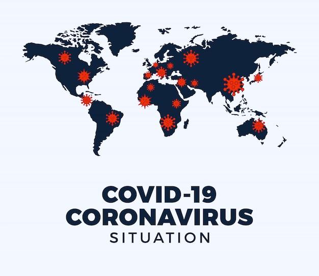 Coronavirus covid-19 mappa ha confermato i casi confermati in tutto il mondo. aggiornamento della situazione della malattia di coronavirus 2019 in tutto il mondo. le mappe mostrano dove si è diffuso il coronavirus. illustrazione.