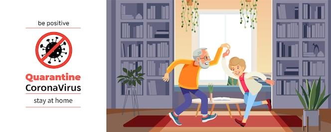 Coronavirus covid-19, poster motivazionale in quarantena. la bella coppia senior sta ballando e sorridendo durante la crisi del coronavirus. sii positivo e resta a casa citazione fumetto illustrazione