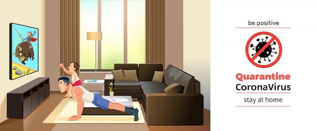 Coronavirus covid-19, poster motivazionale in quarantena. padre con suo figlio carino trascorrere del tempo insieme a casa durante l'auto-quarantena coronavirus. sii positivo e resta a casa citazione illustrazione